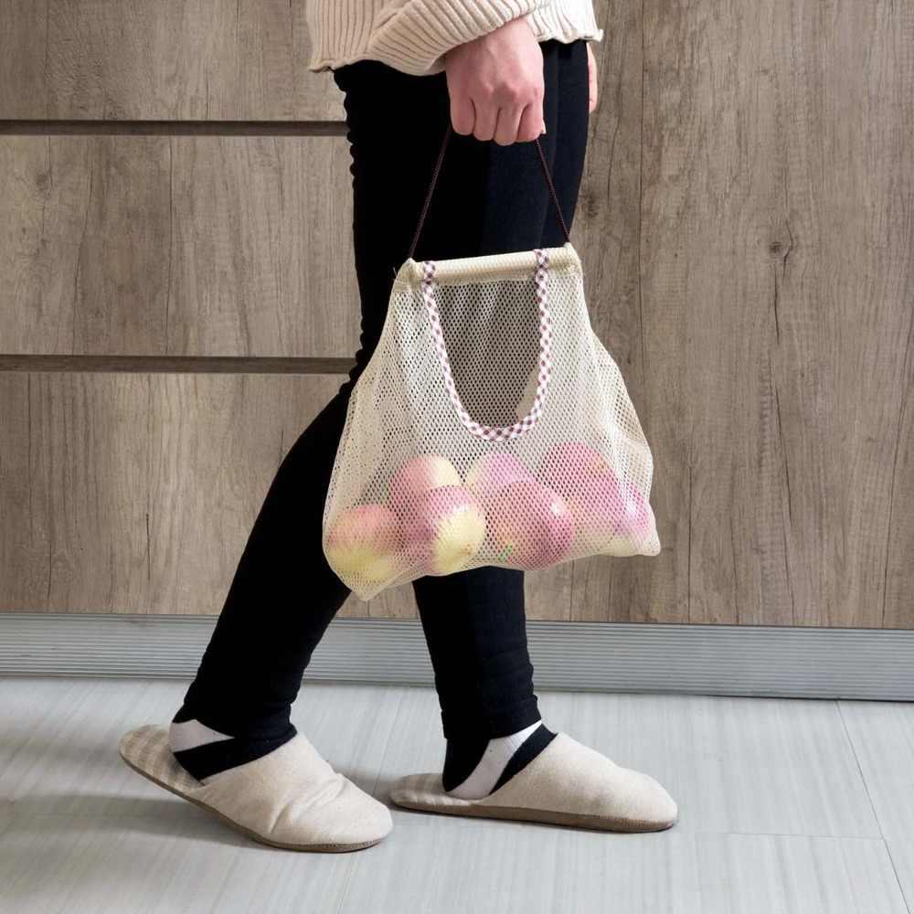 フルーツ野菜ガーリックオニオン収納袋キッチン通気性再利用可能なメッシュバッグオーガナイザー食料品ショッピングバッグ