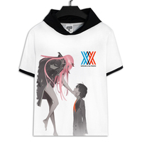 Summer Anime DARLING in the FRANXX T Shirt Sexy Short Sleeve With Hat Unisex Men White Tee Top