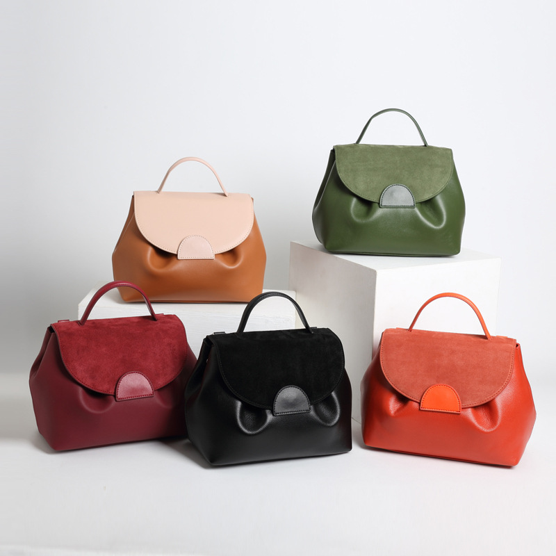 Genuine Leather Women Bags Casual Handbags Messenger Doctor Shoulder Bag Pumpkin Sharp Design Cell Phone Wallet