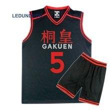 อะนิเมะKuroko No Basukeตะกร้าคอสเพลย์GAKUENโรงเรียนเครื่องแบบAomine Daikiชายกีฬาเสื้อยืดกางเกงขาสั้นชุดเครื่องแต่งกาย4 5 6