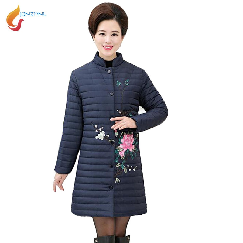 JQNZHNL  New Winteter Cotton Coats Women Medium Long Cotton-padded Jacket Coat Fashion Flower Embroidered Thin Down Parkas C54 jqnzhnl 2017 fashion women solid color hooded loose cotton padded jacket down parkas winter medium long pockets cotton coats c61