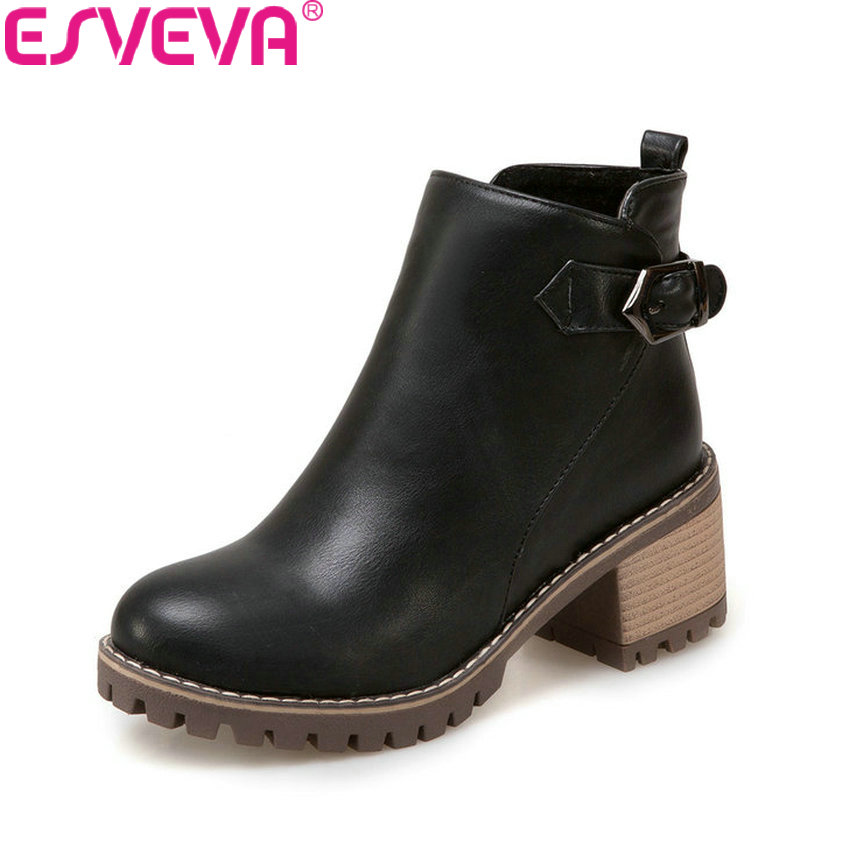ESVEVA 2018 Women Boots Square Heels PU Leather Short Plush Out Door High Heels Ankle Boots Round Toe Ladies Boots Size 34-43 esveva 2018 women boots sweet style zippers square high heels pointed toe ankle boots chunky short plush ladies shoes size 34 39