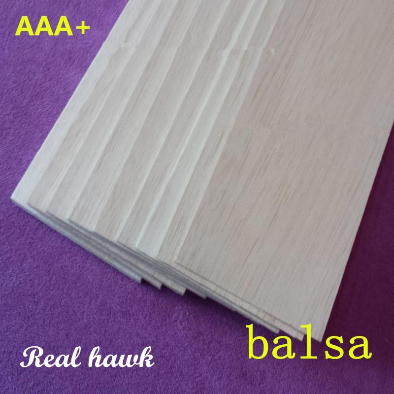 AAA + Hoja de madera de balsa capa 200 mm de largo 100 mm de ancho 0.75 / 1 / 1.5 / 2 / 2.5 / 3/4/5/6/7/8/9/10 mm de espesor 10 pcs / lote para avión / barco modelo DIY