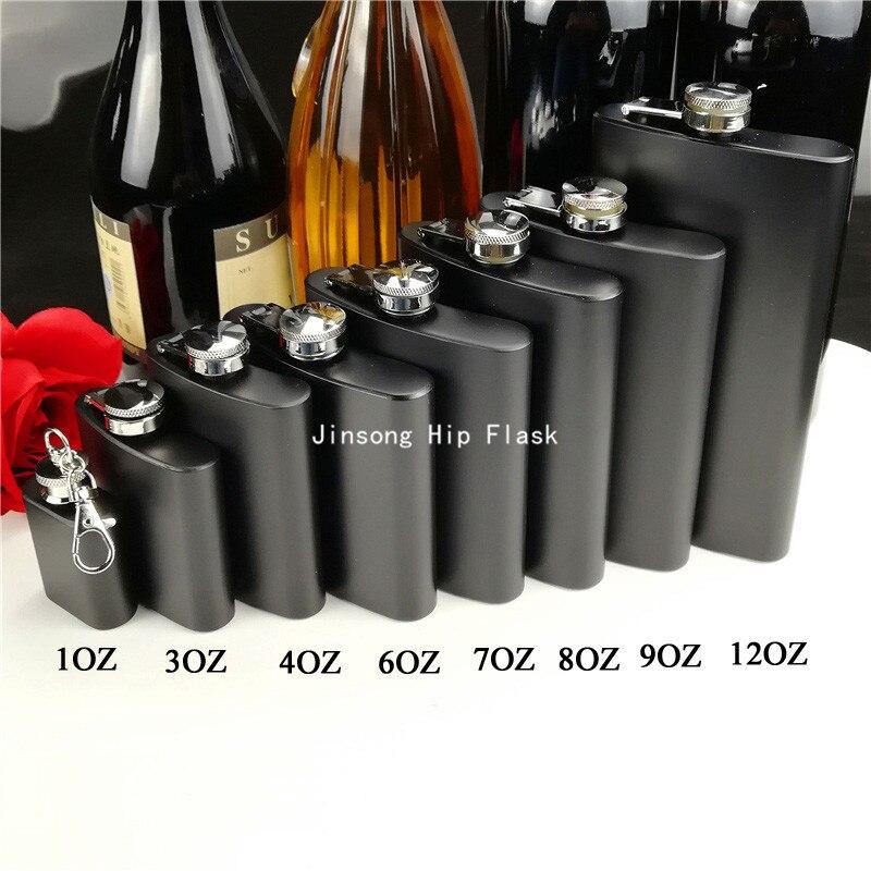 Matt black 1oz 3oz 4oz 6oz 7oz 8oz 9oz 12oz stainless steel hip flask free logo