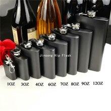 Flacon en acier inoxydable noir mat 1oz /3oz /4oz/6oz /7oz /8oz/9oz /12oz, logo gravé gratuit pour les hanches