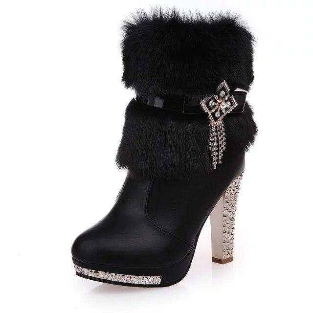 Talons Cm Chaussures Dame De Noir Cristal 2018 Fourrure Bling Bottes En Peluche Noce Haute Élégant 12 Femmes Pompes Plate blanc Chaud forme TwqaYq8gx