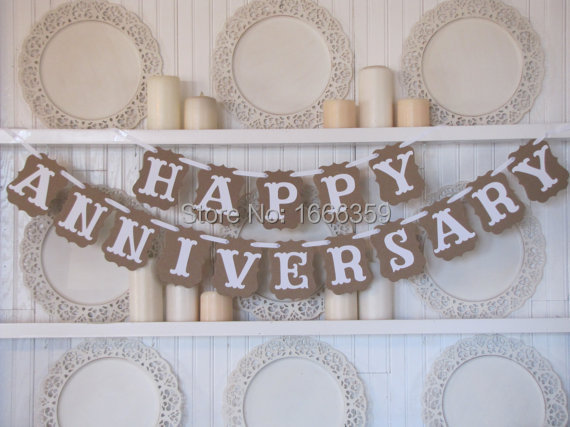 Free shipping 1 x romantic happy anniversary bunting banner wedding