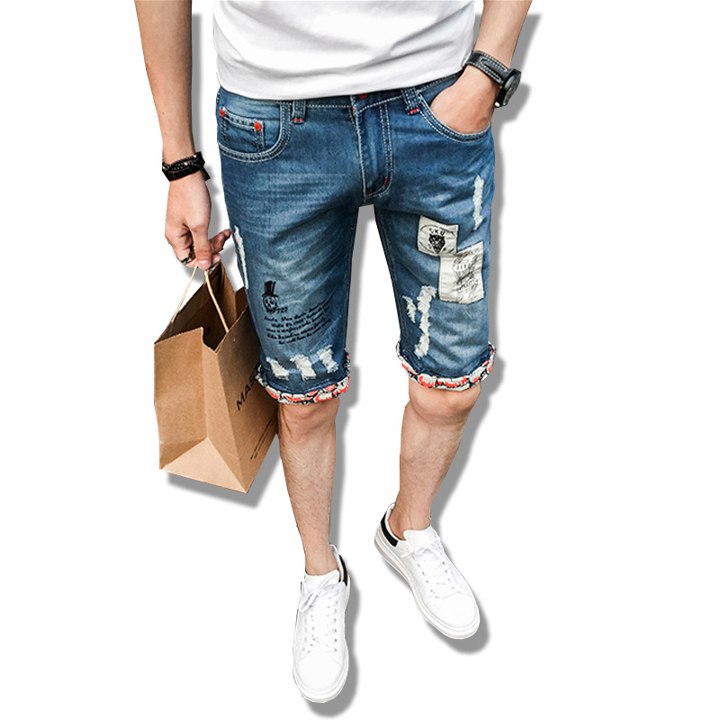 Mens Denim Shorts 2017 New Summer Regular Casual Knee Length Short Masculina Hole Jeans Shorts For Men