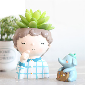 Image 4 - Cute Cartoon Boy Container for Home Garden Office Desktop Decoration guardian for flower plant  pot succulent can