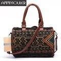 Annmouler Mulheres Bolsas Vintage 3 Cores Boston Saco Saco Crossbody Estilo Nacional Bohemian Weave Tecido Messenger Bag Satchel