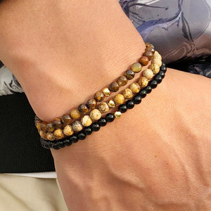 Fashion 3 Pcs/Set 4mm Small Natural Stone Beads Bracelet Simple Tiger Eyes Obsidian Braclet For Men Hand Jewelry Homme(China)