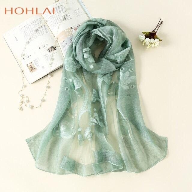 dad7544d2d01 2018 Nouvelle Marque De Luxe WomenScarf Mode Creux Broderie Soie Echarpes  Lady Châles et S