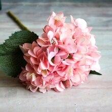 1 филиал искусственные цветы для свадебной вечеринки домашний декор букет гортензии Искусственные цветы растения сушеные цветы Однослойная шелковая ткань