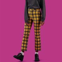 2018 retro vintage old school unif black yellow plaid checkerboard flare pants women ankle length pants pantalon femme