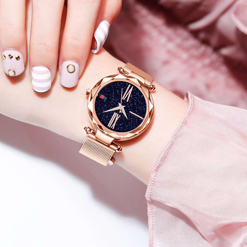 Fashion Women Watches Magnet Buckle 4 Colors Lady Wristwatch Fashion Starry Sky Black Rose Gold Ulzzang