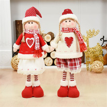 Red Clothes Girl White Angel Standing Figures Christmas Decorations for Home Dolls New Year Birthday Presents