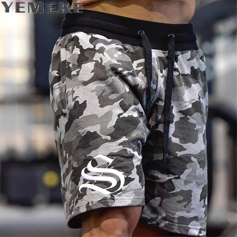 YEMEKE Men's Shorts Summer Fashion Military Trunks French Terry Cotton Casual Hip Hop Male Short  White Camouflage