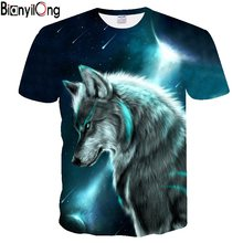 Wolf meteor&moon printed T-shirt Men Tshirt Anger Shirts 3d T Shirt Hip Hop Tee Animal Mens Clothing 2018 Summer Casual Tops(China)
