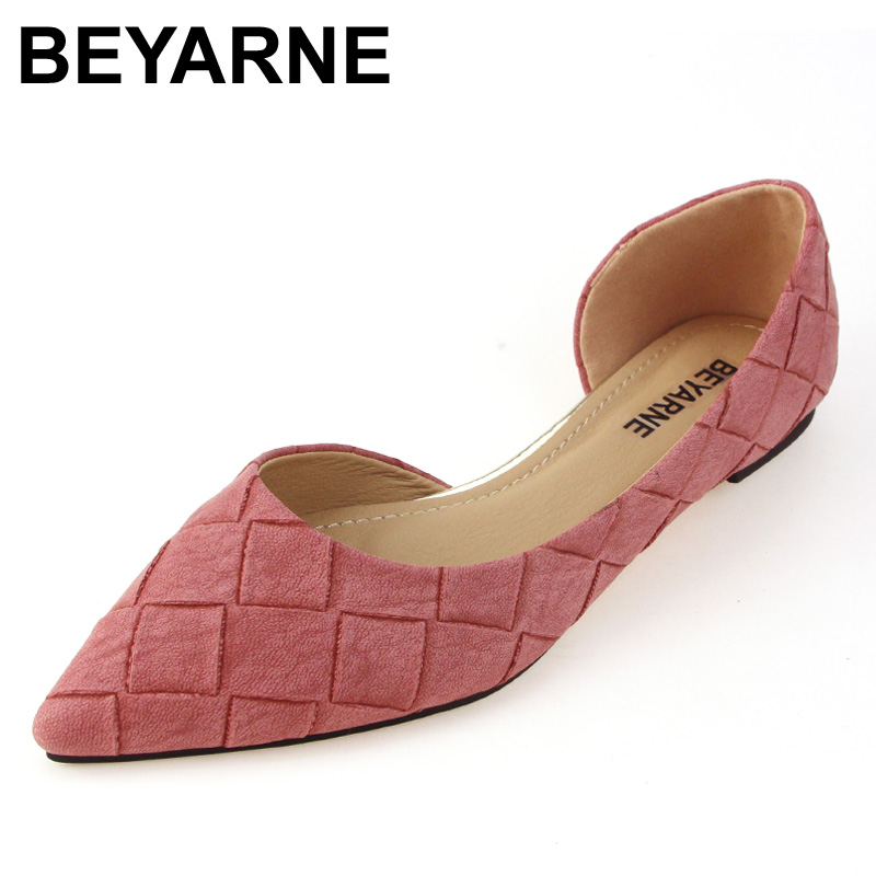 BEYARNE Women's D'orsay Flats Spring Autumn Pointed Toe Shallow Mouth Woman Basic Flats Shoes Ladies Casual Single Shoes Pink 2018 spring summer low heel sandals pointed toe shallow mouth women shoes woman cozy casual shoes leisure single ladies shoes cy