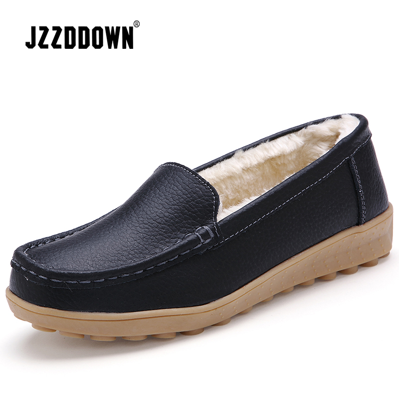 Image 2 - JZZDDOWN  Soft Genuine Leather flat shoes women Heel High 2.5cm women shoes flat with fur winter Ladies female shoes flatWomens Flats   -