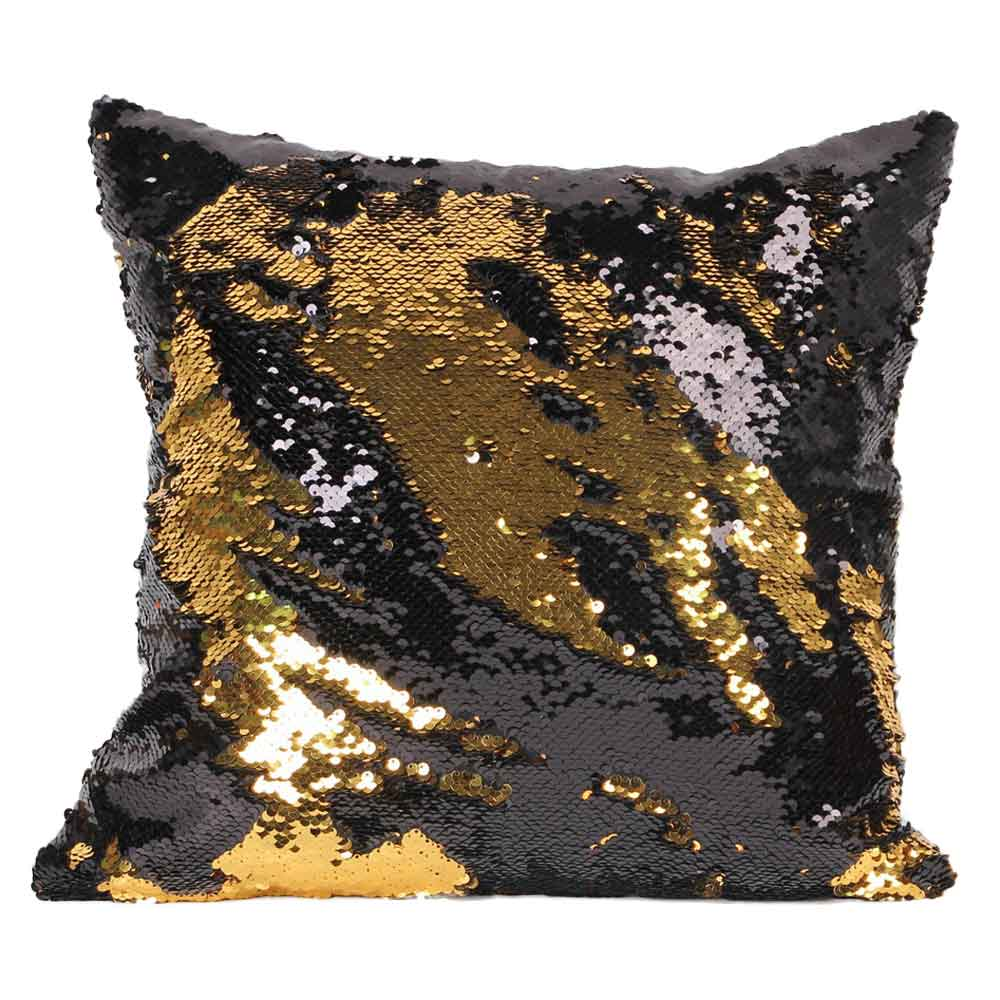 Decorative pillows with blue brown and yellow - Mermaid Sequin Cushion Cover Magical Changing Blue Silver Fashion Decorative Pillow Protectors For Sofa 40cmx40cm