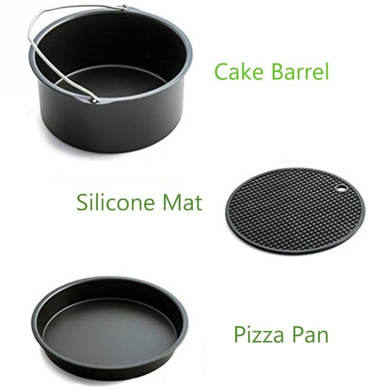 5 pièces accueil Air poêle accessoires ustensiles de cuisine ensembles acier inoxydable friteuse cuisson panier Pizza plaque Grill Pot Mat multi-usages - 5