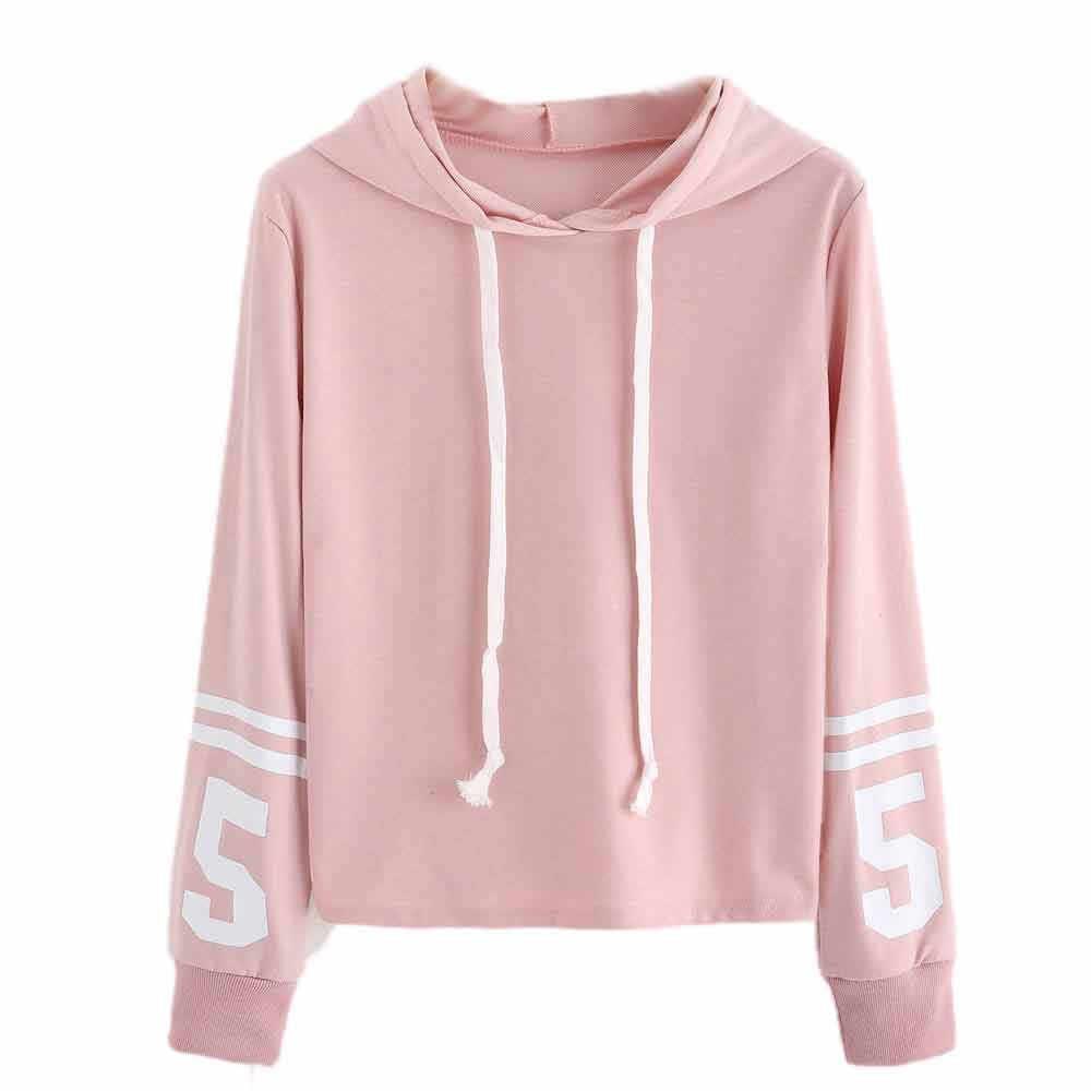 Women Sweet Striped Number 5 Hoodie Sweatshirt Jumper Pullover Tops Girls Pink White Clothes Pink White Warm Atume Winter Hot Hoodies Sweatshirts Aliexpress