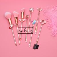 2018 Cute Cardcaptor Sakura Sailor Moon Brand Makeup Brushes Set Cosmetic Powder Foundation Eyeshadow Brush Kits