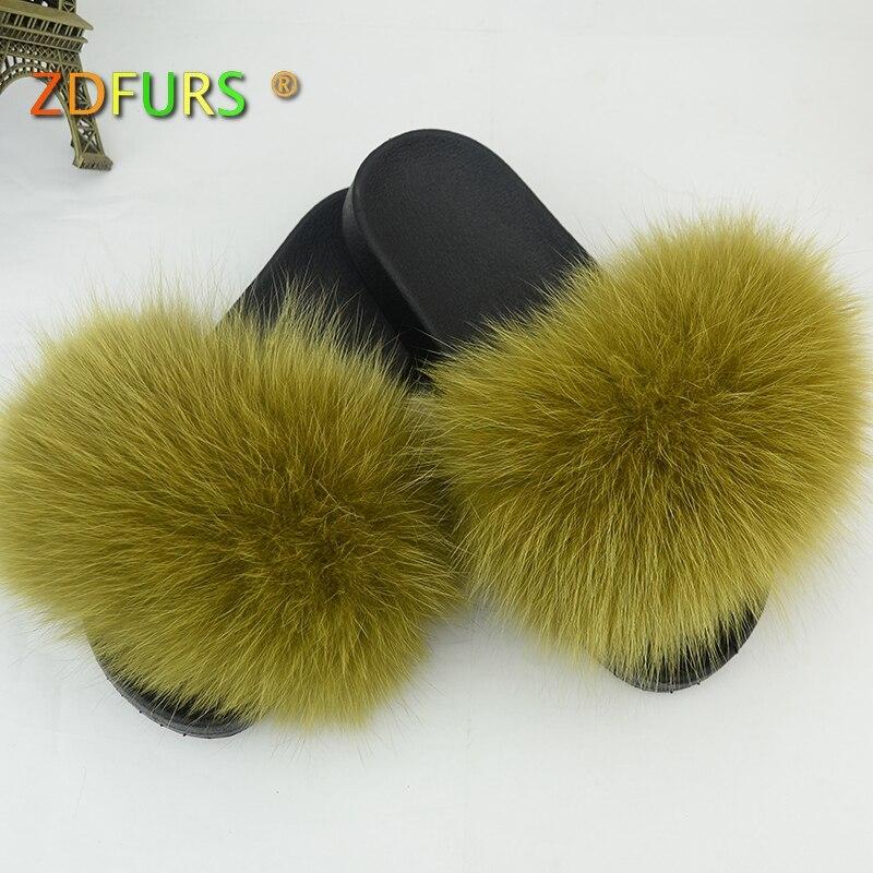ZDFURS* 2018 Real Fox Fur Slippers Spring Summer Autumn Winter Slides Women Sliders Outdoor Indoor Sandal