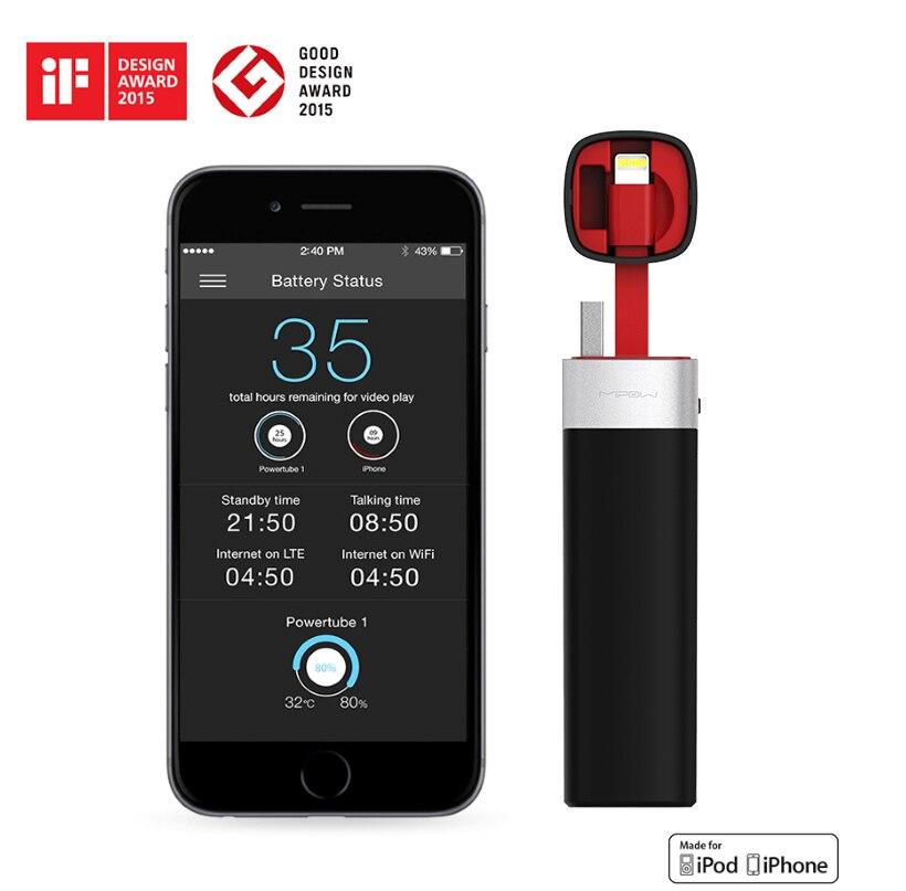 bilder für MIPOW Smart Power Bank Batterie 3000 mAh Tragbare APP Steuer Ladegerät gebaut in MFI Blitzkabel für iPhone 7 Apple iPod iPad