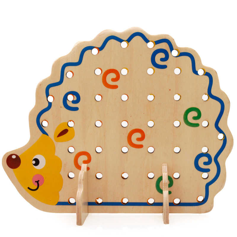 2016 Hot Sale Free Shipping Montessori interests intellectual toys 28*18.5*4cm Modelling of the hedgehog Wooden toys Educational