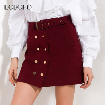 High Waist Skirts Womens Spring 2018 New Arrival Casual Skirt Red Black Double Buttons Fashion Streetwear Women Skirt With Belt Юбка