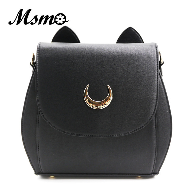 598370ce0 MSMO Cute Large Sailor Moon Samantha Vega Luna Backpack Black White Cat  Luna Moon Women Bag