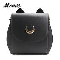 2015 Cute Large Sailor Moon Samantha Vega Luna Backpack Black White Cat Luna Moon Women Bag