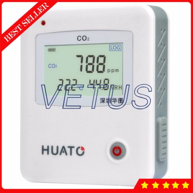 Handheld Carbon Dioxide CO2 Detector Analyzer 0- 5000PPM Temperature Humidity Data Logger 3 in1 USB Meter Tester S653