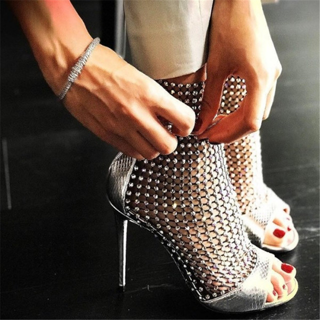 Luxury Rhinestone Studded Open Toe Summer Sandals Ankle Boots Bling Caged Booties  Women Sexy Cutouts High Heels Shoes Women 2019 fe79a75aa38f