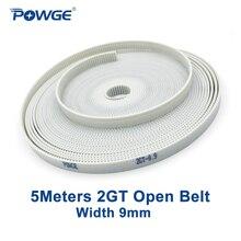 POWGE 5 метров PU 2GT открытый синхронный ремень 2GT-9 ширина 9 мм полиуретан, сталь открытый GT2 зубчатый ремень для малого люфта 3D-принтера