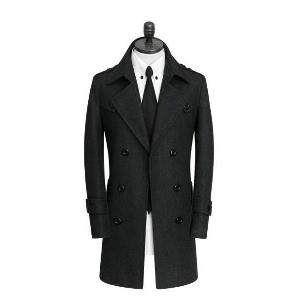 Coréen décontracté manteau de laine hommes trench manteaux manches longues noir gris rayures pardessus hommes cachemire manteau casaco angleterre ceinture 9XL