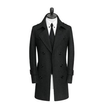 Korean casual woolen coat men trench coats long sleeves Black gray stripes overcoat mens cashmere coat casaco england belt 9XL