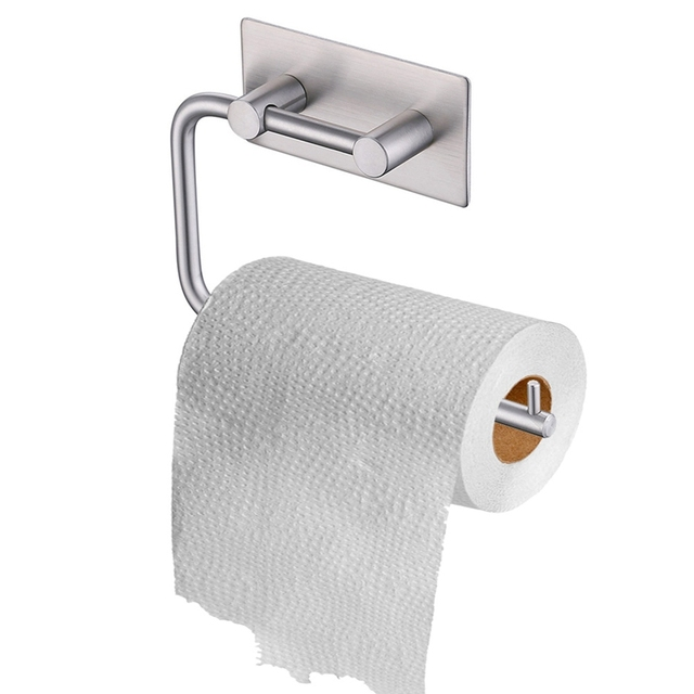 Rustproof Stainless Steel Self Adhesive Toilet Paper Holder Bathroom