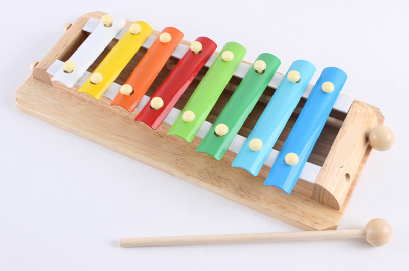 New wooden toy wooden baby 8 sound knock piano baby music toy baby educational toy Free shipping in Noise Maker from Toys Hobbies