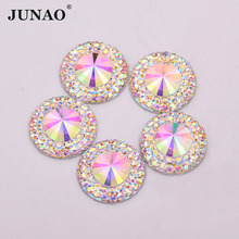 JUNAO 8 10 12 18 20 30 40mm Large AB Crystal Rhinestone Applique Flat Back Resin Gems Non Sewn Strass Stones for Crafts