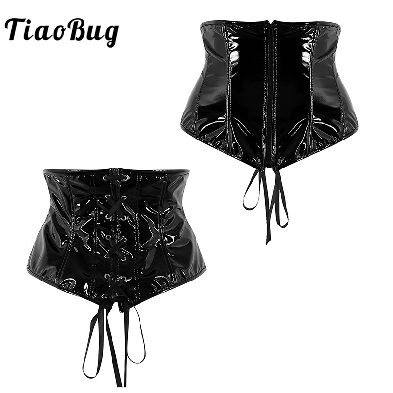 TiaoBug Women Wet Look Faux Leather Cummerbunds Lady Punk Gothic Lace Up Zipper Wide Waist Belt Fashion Female Dress Waistbands
