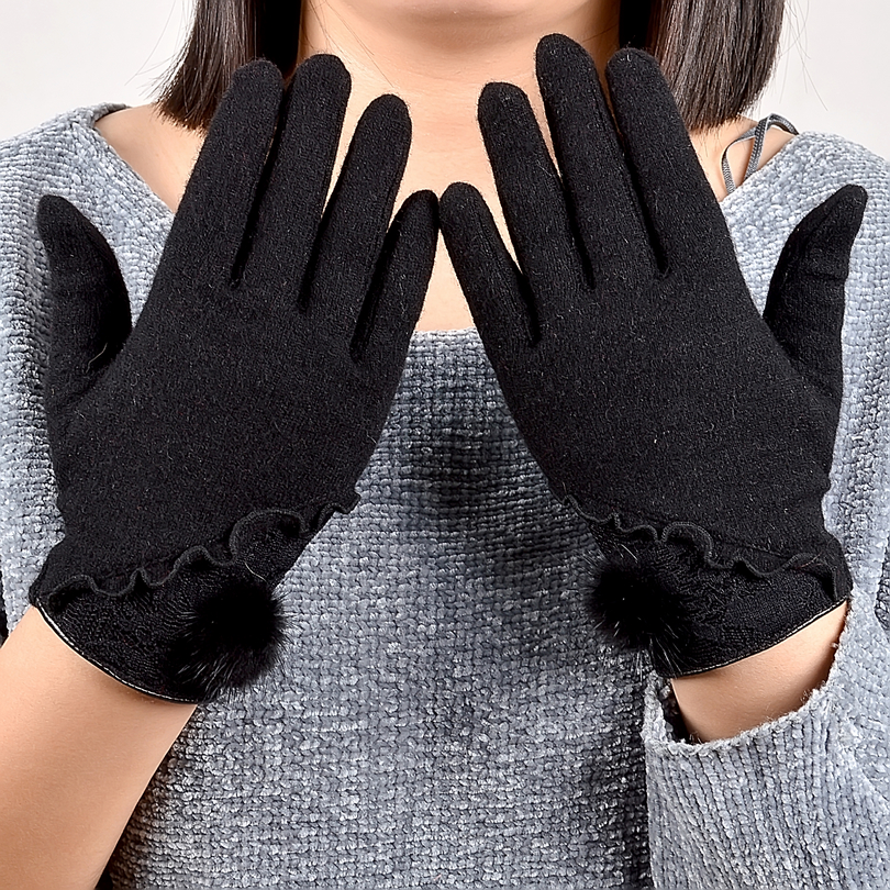 [BYSIFA] Fashion Brand Cashmere Wool Gloves Ladies Trendy Mink ball Sexy Black Lace Embroidery Women Gloves Soft Mittens Gloves