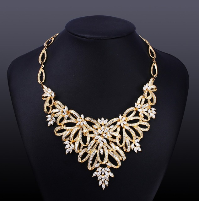 CZ Necklace For Party Bridal Luxury Bridal jewelry  Gold  plated paved Setting with AAA cubic zirconia Free Courier