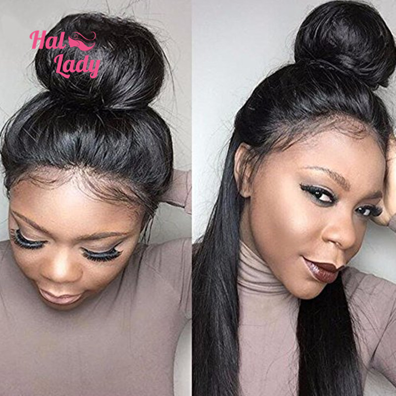 "Halo Lady Hair Brazilian Virgin Hair Straight 360 Lace Frontal Wig Natural Color 22″*4*2"" 360 Lace Frontal With Baby Hair"