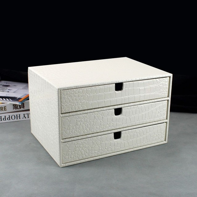 Home Office 3 Drawer Wood Leather Desk File Cabinet Storage Box Organizer Doent Holder Rack Tray Crocodile White 217e