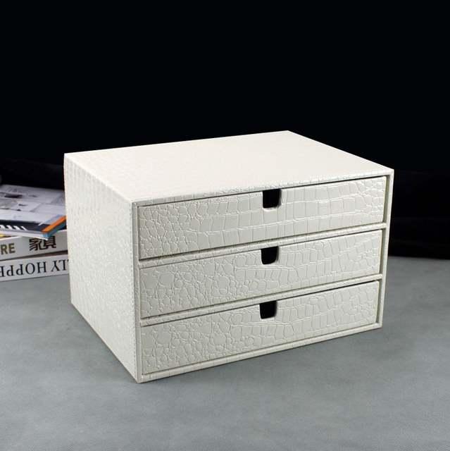 Placeholder Home Office 3 Drawer Wood Leather Desk File Cabinet Storage Box Organizer Doent Holder