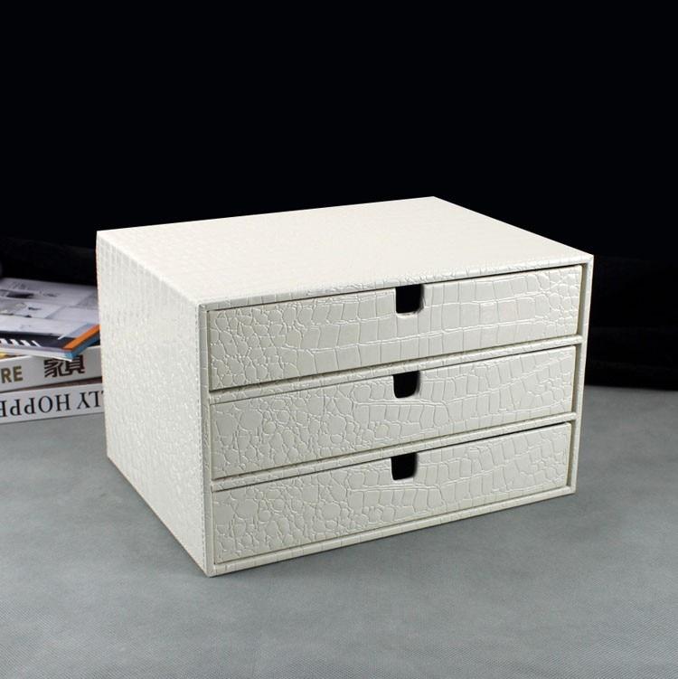 home office 3 drawer wood leather desk file cabinet storage drawer box organizer document holder rack tray crocodile white 217E