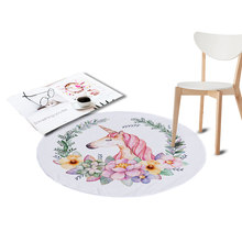 Coral Velvet Chair Floor Mat Unicorn Printed Round Carpet for Living Room Children Bedroom Play Area Outdoor Rugs Home Textile(China)